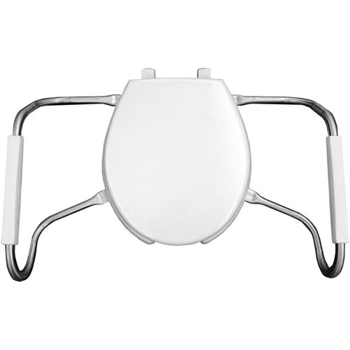 Bemis MA2050T 000 Medic-Aid Plastic Open Front With Cover Toilet Seat with Safety Side Arms and STA-TITE Commercial Fastening System, Round, White 766252
