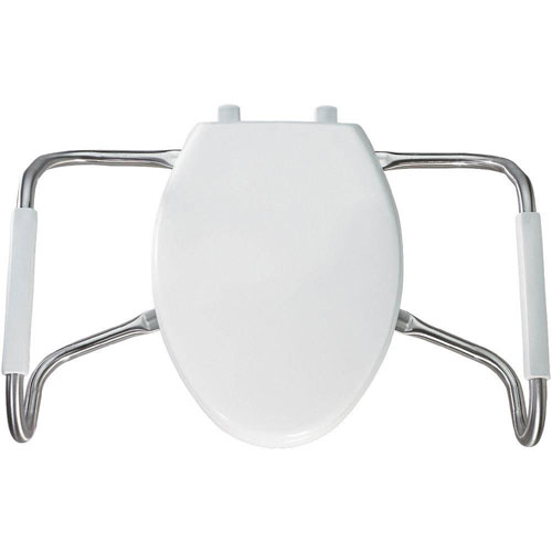Bemis MA2100T 000 Medic-Aid Plastic Closed Front With Cover Toilet Seat with Safety Side Arms and STA-TITE Commercial Fastening System, Elongated, White 934750