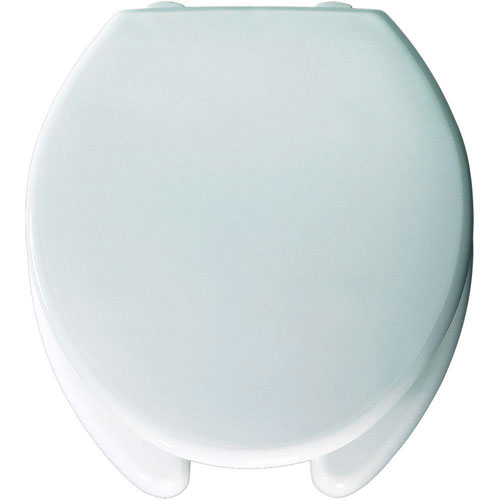 Bemis 2L2050T 000 Medic-Aid Plastic 2-inch Lift Open Front With Cover Toilet Seat with STA-TITE Commercial Fastening System, Round, White 966358
