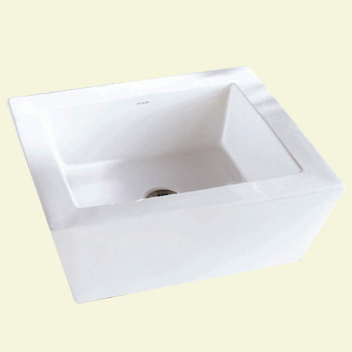 Decolav 1432-CWH Square Vitreous China Above-Counter Vessel with Overflow, White 263997