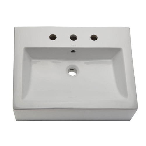 Decolav 1417-8-CWH Classically Redefined Square Ceramic Vessel Lavatory Sink with Overflow, White 467877