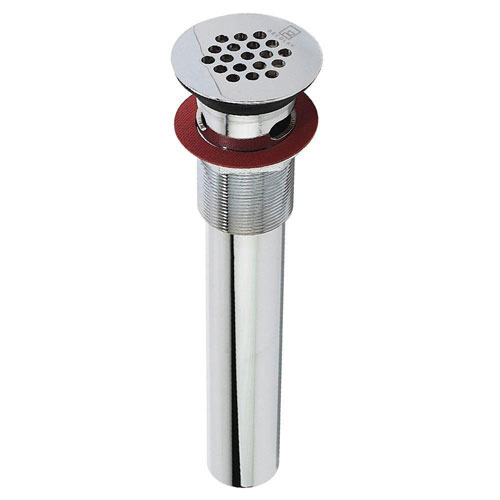 Decolav 9-3/4 inch x 2.2 inch Chrome Grid Drain with Overflow 525061