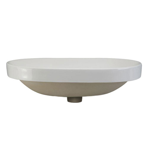 Decolav Classically Redefined Semi Recessed Oval Bathroom Sink in White 542929
