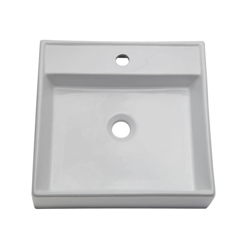 Decolav 1464-CWH Classically Redefined Low Profile Square Above Counter Lavatory Sink, White 542935