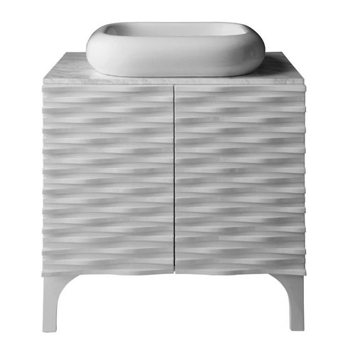 Decolav Sophia 30 inch Birch Vanity in Glossy White with Bianco Marble Vanity Top with Basin in White 543106