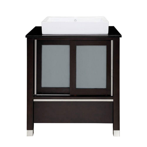Decolav Tyson 31 inch W x 22 inch D x 32 inch H Vanity in Espresso with Granite Vanity Top in Black and Lavatory in White 543115