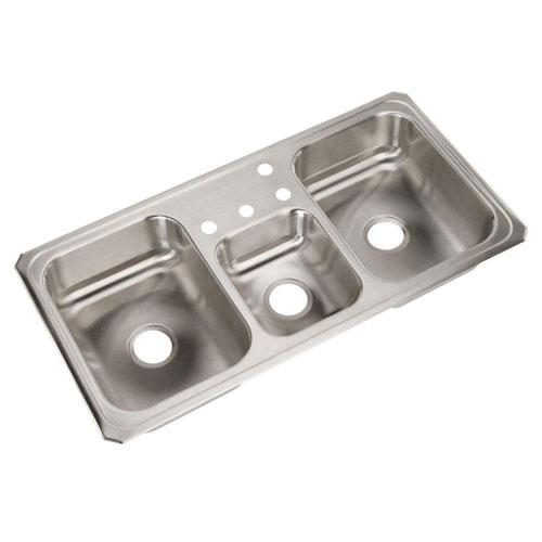Elkay Celebrity Top Mount Stainless Steel 43x22x6-7/8 4-HoleTriple Bowl Kitchen Sink 113837