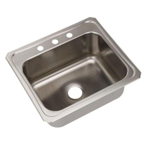 Elkay Celebrity Drop-in Stainless Steel 25x22x10.25 3-Hole Single Bowl Kitchen Sink in Satin 116095