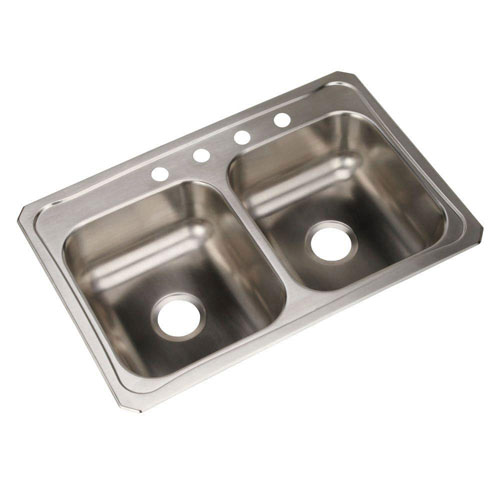 Elkay Celebrity Top Mount Stainless Steel 33x22x7 4-Hole Double Bowl Kitchen Sink 116178