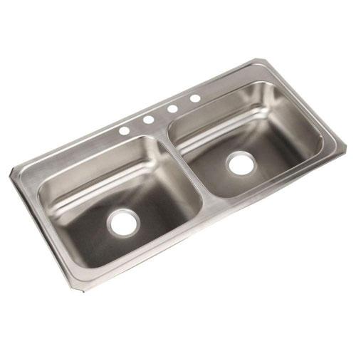 Elkay Celebrity Top Mount Stainless Steel 43x22x6-7/8 4-HoleDouble Bowl Kitchen Sink 116186