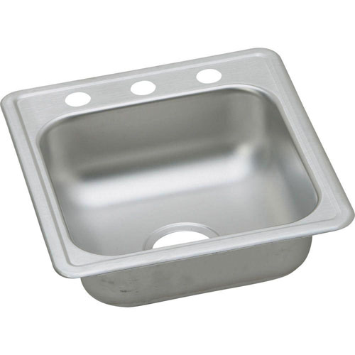 Elkay Dayton Top Mount Stainless Steel 17x19x6.13 3-Hole Single Bowl Bar Sink in Satin 134676