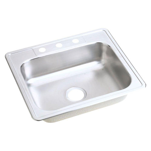 Elkay Dayton Top Mount Stainless Steel 21.25x25x6.5 4-Hole Single Bowl Kitchen Sink in Satin 165237