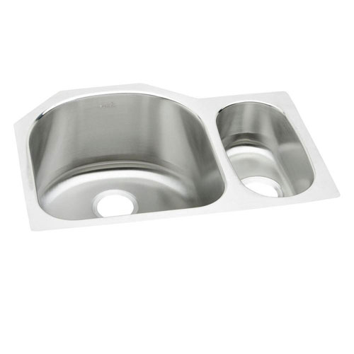 Elkay Harmony Lustertone Undermount Stainless Steel 26.75x10x20 0-Hole Double Bowl Kitchen Sink in Highlighted Satin 264057