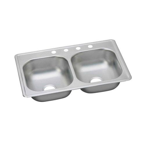 Elkay Dayton Top Mount Stainless Steel 33x19x6-7/16 4-Hole Double Bowl Kitchen Sink 301853