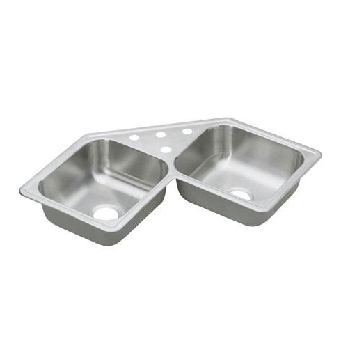 Elkay Dayton Top Mount Stainless Steel 31-7/8x31-7/8x7 4-Hole Double Bowl Kitchen Sink 301857