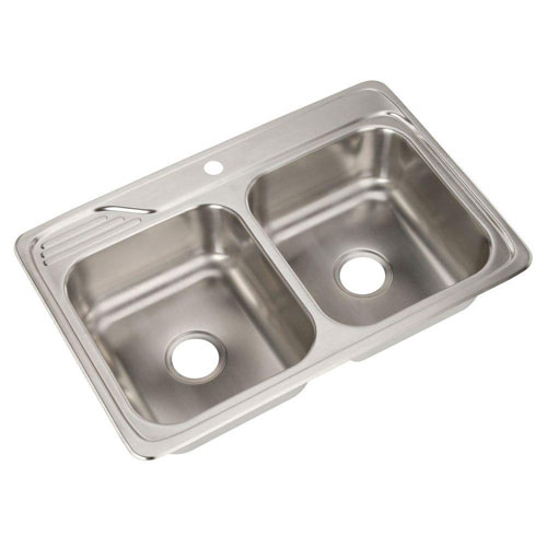 Elkay Celebrity Top Mount Stainless Steel 33x22x7.5 1-Hole Double Bowl Kitchen Sink 301941