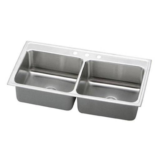Elkay Lustertone Top Mount Stainless Steel 43x22x10 3-Hole Double Bowl Kitchen Sink 306881
