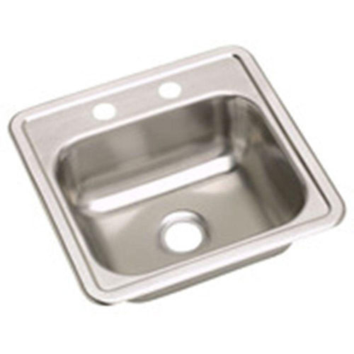 Elkay Dayton Top Mount Stainless Steel 15x15x5.125 2-Hole Single Bowl Kitchen Sink 319537