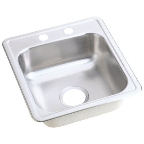 Elkay Dayton Top Mount Stainless Steel 17x19x6-1/8 2-Hole Single Bowl Bar Sink in Satin Stainless Steel 340409