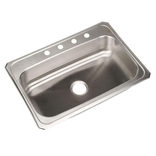 Elkay Celebrity Top Mount Stainless Steel 31x22x6.875 4-Hole Single Bowl Kitchen Sink 36820