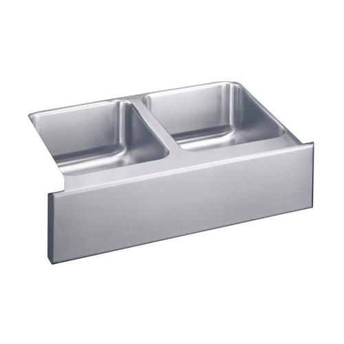 Elkay Lustertone Undermount Apronfront Stainless Steel 33x20-1/2x7-7/8 0-Hole Double Bowl Kitchen Sink 402729