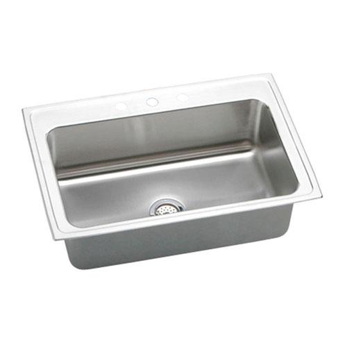 Elkay Lustertone Top Mount Stainless Steel 33x22x10-1/8 3-Hole Single Bowl Kitchen Sink 403029