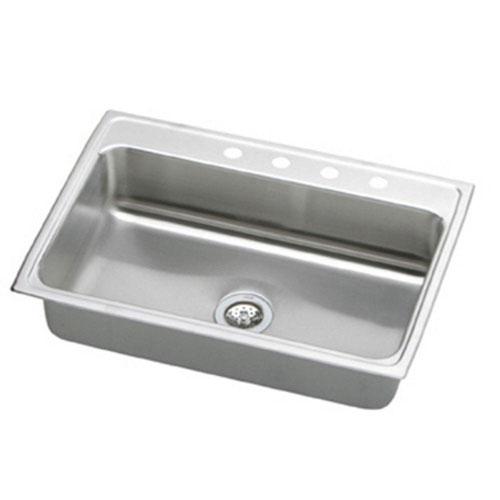 Elkay Lustertone Top Mount Stainless Steel 33x22x10-1/8 4-Hole Single Bowl Kitchen Sink 403033