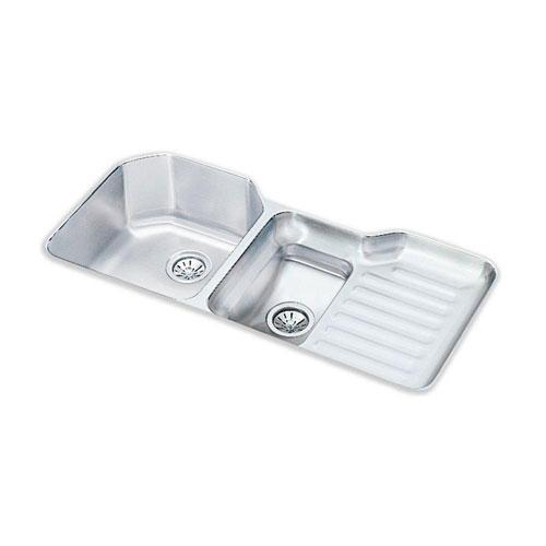 Elkay Lustertone Undermount Stainless Steel 41-1/2x20-1/2x9.5 0-Hole Double Bowl Kitchen Sink 40576