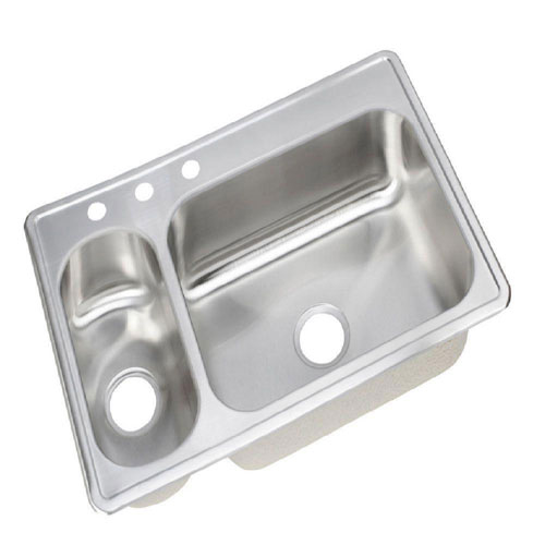 Elkay Dayton Elite Top Mount Stainless Steel 22x33x8 inch 3-Hole Double Bowl Kitchen Sink in Stainless Steel 438201