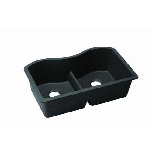 Elkay Harmony Undermount E-Granite 33x9.5x20.13 0-Hole Double Bowl Kitchen Sink in Black 467122