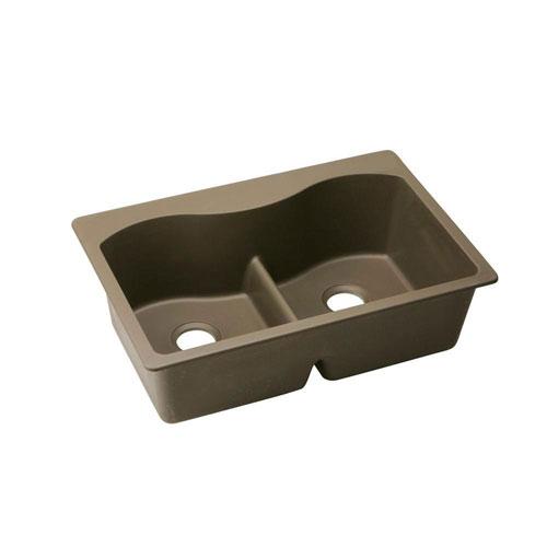 Elkay Harmony Top Mount Composite 33x22x9.5 0-Hole 50/50 Double Bowl Kitchen Sink in Mocha 467130