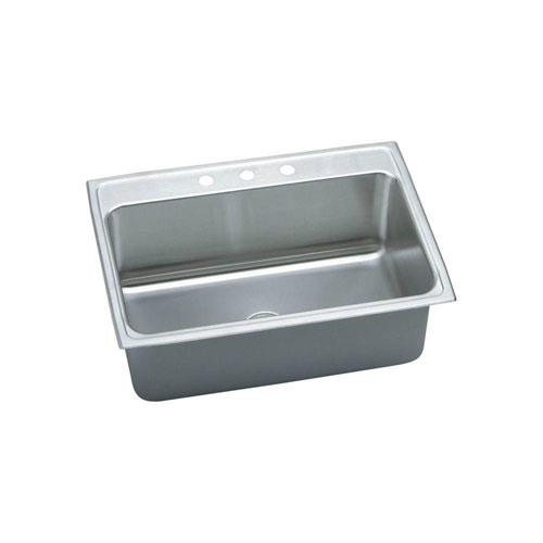 Elkay Lustertone Top Mount Stainless Steel 31x22x10 3-Hole Single Bowl Kitchen Sink in Lustrous Satin 484345