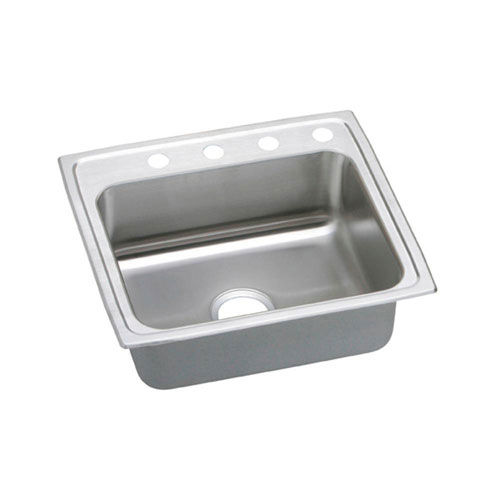 Elkay Pacemaker Top Mount Stainless Steel 22x19-1/2x7-1/4 4-Hole Single Bowl Kitchen Sink 487225