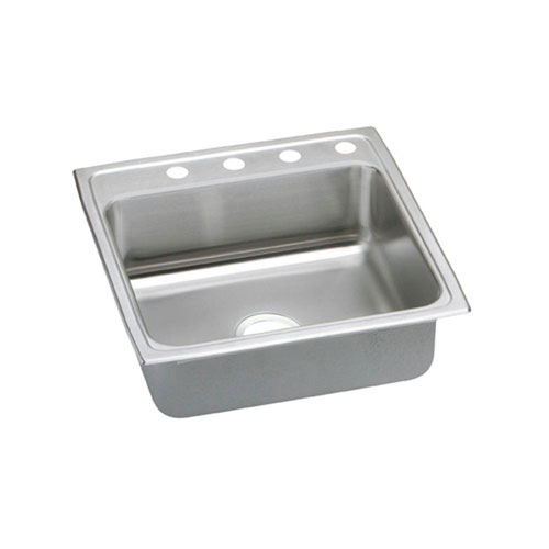 Elkay Pacemaker Top Mount Stainless Steel 22x22x7.25 4-Hole Single Bowl Kitchen Sink 487233