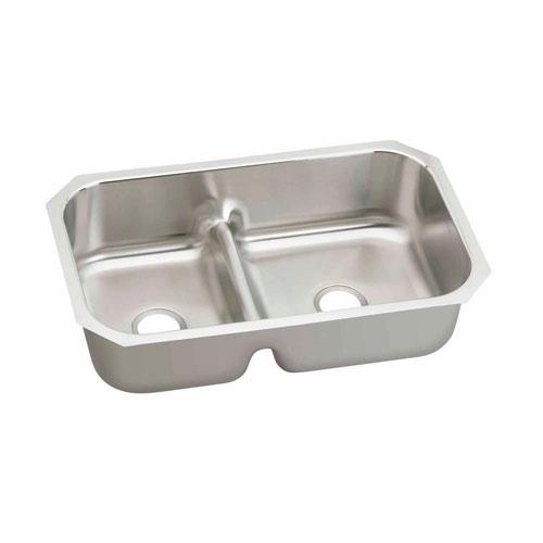 Elkay Gourmet Undermount Stainless Steel 34.63x21.13x8.75 0-Hole Double Bowl Kitchen Sink in Satin 549134