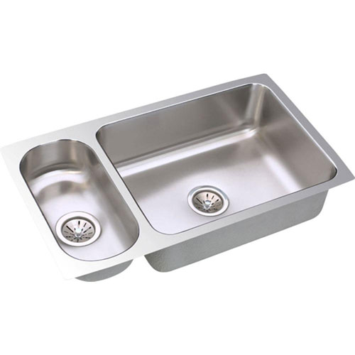 Elkay Lustertone Undermount Stainless Steel 32.25x18.25x7.75 0-Hole Double Bowl Kitchen Sink 586661