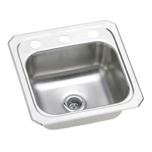Elkay Celebrity Top Mount Stainless Steel 15x15x6.125 2-Hole Single Bowl Hospitality/Bar Sink 708324