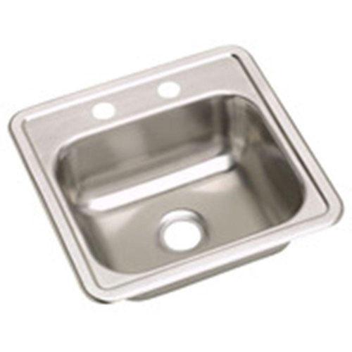 Elkay Dayton Top Mount Stainless Steel 15x5.125x15 2-Hole Single Bowl Bar Sink in Satin 708515