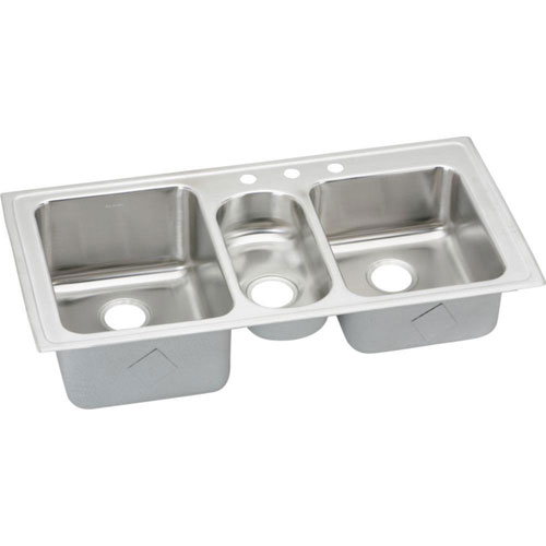 Elkay Gourmet Top Mount Stainless Steel 43x22x10 3-Hole Triple Bowl Kitchen Sink in Highlighted Satin 731692