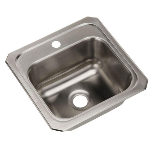 Elkay Celebrity Top Mount Stainless Steel 15x15x6-1/8 1-Hole Single Bowl Kitchen Sink 731728
