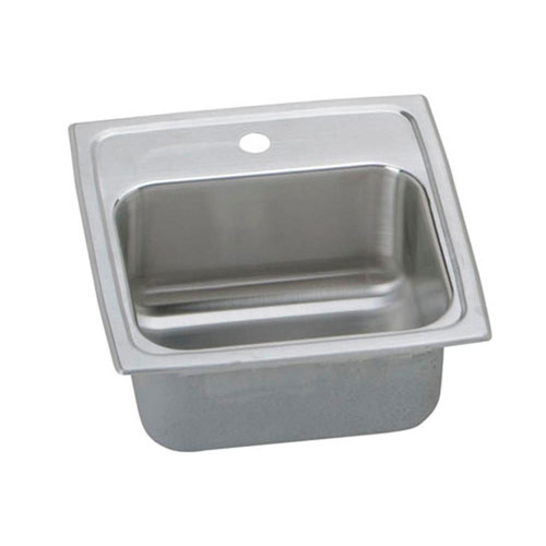 Elkay Lustertone Top Mount Stainless Steel 15x15x7-1/8 1-Hole Single Bowl Bar Sink 731737