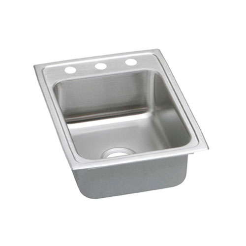 Elkay Pacemaker Top Mount Stainless Steel 17x22x7.25 3-Hole Single Bowl Kitchen Sink 736624