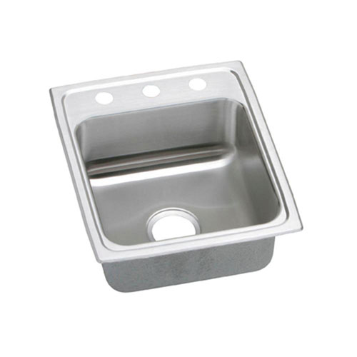 Elkay Pacemaker Top Mount Stainless Steel 17x20x7-1/8 3-Hole Single Bowl Kitchen Sink 765073
