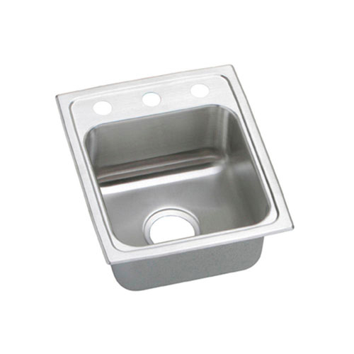 Elkay Pacemaker Top Mount Stainless Steel 15 inch 3-Hole Single Bowl Kitchen Sink 765145
