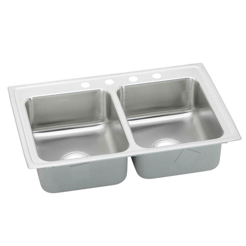 Elkay Pacemaker Top Mount Stainless Steel 33x19-1/2x7-1/4 3-Hole Stainless Steel Double Bowl Kitchen Sink 773218