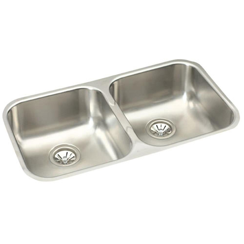 Elkay Gourmet Elumina Undermount Stainless Steel 31-3/4x8x18-1/4 0-Hole Double Bowl Kitchen Sink 781149
