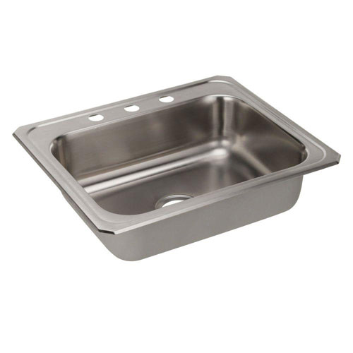 Elkay Celebrity Top Mount Stainless Steel 25 inch 3-Hole Single Bowl Kitchen Sink 786601
