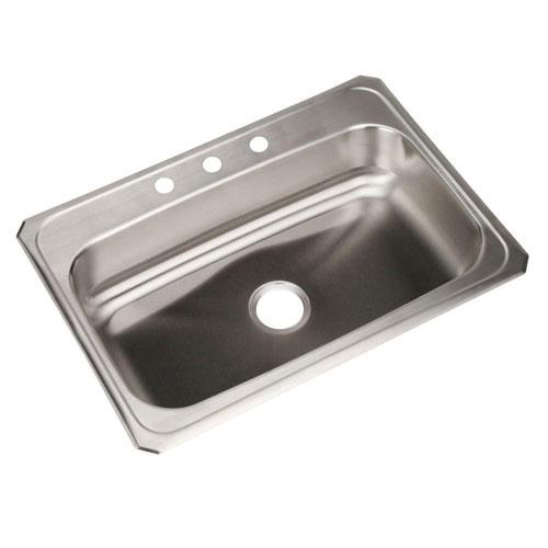 Elkay Celebrity Top Mount Stainless Steel 31x22x6.875 3-Hole Single Bowl Kitchen Sink 786646