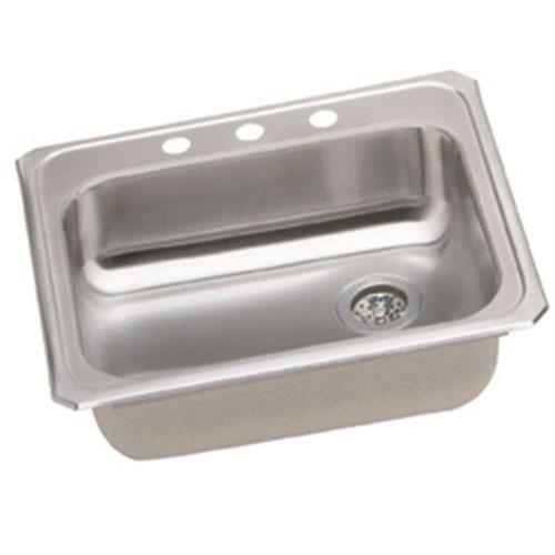 Elkay Celebrity Top Mount Stainless Steel 25x21.25x5.38 3-Hole Single Bowl Kitchen Sink 786682