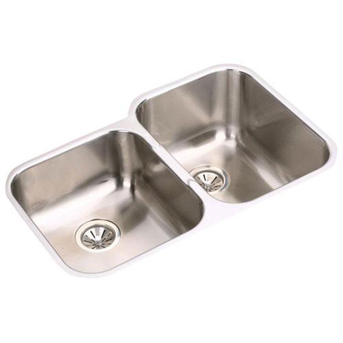 Elkay Elumina Undermount Stainless Steel 20-1/2x31-1/4x10 0-Hole Double Bowl Kitchen Sink in Stainless Steel 790205